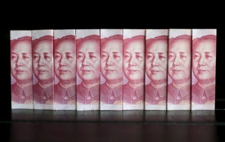 File picture illustration taken shows Chinese 100 yuan banknotes