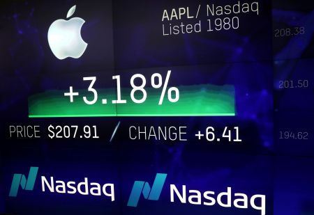An electronic screen displays the Apple Inc. stock price at the Nasdaq Market Site in New York City