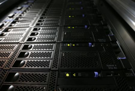 File photo of an IBM System x3755 M3 server in the data center at the EPFL in Ecublens