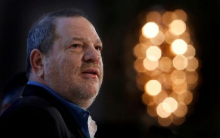 FILE PHOTO: Harvey Weinstein speaks at the UBS 40th Annual Global Media and Communications Conference in New York